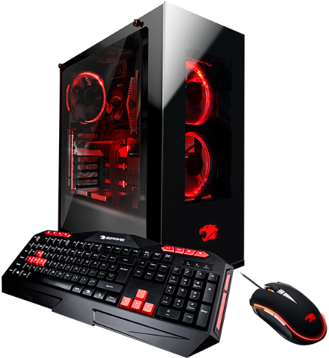 Modern Gaming Computer with red lights