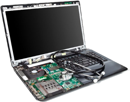 Partially dismantled laptop computer