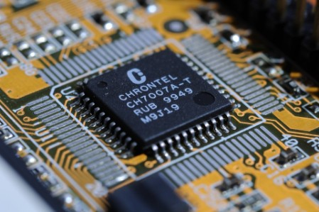 Closeup picture of a motherboard chip